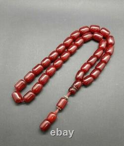 105.6 Grams Antique Faturan Cherry Amber Bakelite Beads Rosary Misbah Marbled