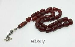 106.5 Grams Antique Faturan Cherry Amber Rosary Prayer Beads Marbled