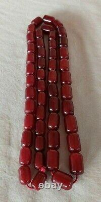 110.5 Grams Antique Cherry Amber Faturan Necklace Beads Marbled