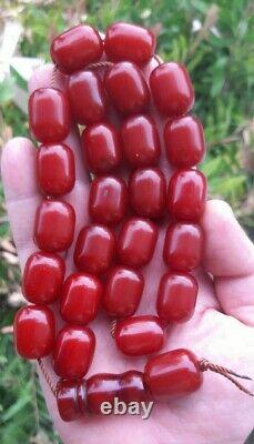 110.5 Grams Antique Faturan Cherry Amber Bakelite Beads Rosary Misbah Marbled