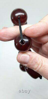 110 Grams Antique Faturan Cherry Amber Big Beads Rosary Necklace Marbled