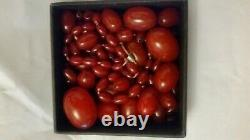 118g Antique Marbled Cherry Amber Bakelite Necklaces Loose Beads