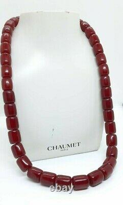 122.3 Grams Antique Faturan Cherry Amber Beads Necklace Marbled