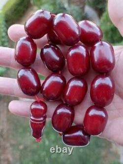 128.5 Grams Antique Faturan Cherry Amber Bakelite Prayer Beads Tesbih Misbah