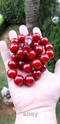 130 Grams Antique Faturan Cherry Amber Bakelite Prayer Beads Tespih Damari