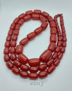 156.6 Grams Antique Cherry Amber Faturan Beads Necklace