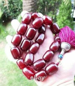 175 Grams Antique Faturan Cherry Amber Beads Rosary Necklace Marbled