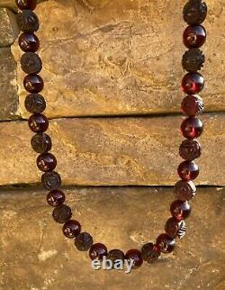 1930's Chinese Dark Cherry Amber Bakelite Carved Roses Bead Necklace. 16 62g