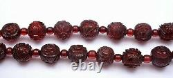 1930's Chinese Dark Cherry Amber Faturan Bakelite Carved Bead Silver Necklace