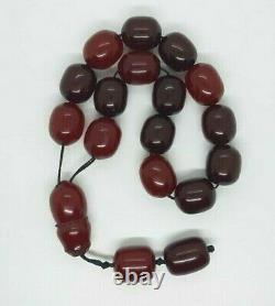 213 Gr Antique Faturan Cherry Amber Bakelite Prayer Beads Rosary Tesbih Misbah