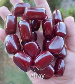 221 Grams Antique Cherry Amber Faturan Large Beads Necklace