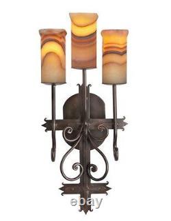 28 H Cross Sconce light Amber onyx stone Red veined Wrought Iron 100% handmade