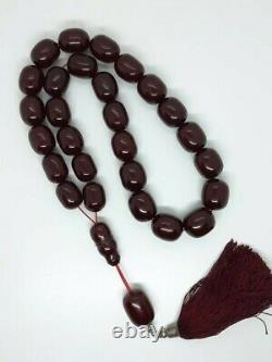 293 Gr Antique Faturan Cherry Amber Bakelite Rosary Prayer Beads Marbled