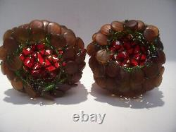 2 Antique Czech Glass Flower Red / Amber Beaded Bulb Cover Shades Rewoven 3 1/2
