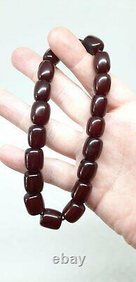 36.3 Grams Antique Faturan Cherry Amber Beads Marbled