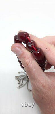 46.8 Grams Antique Cherry Amber Bakelite Beads Damari/Veins