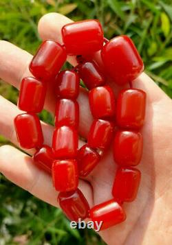 48 Grams Antique Cherry Amber Faturan Bakelite Beads Necklace Marbled