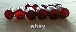 61.6 Antique Cherry Amber Faturan Bakelite Beads Necklace Marbled