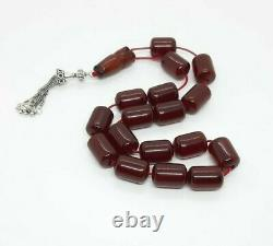 63 Grams Antique Faturan Cherry Amber Bakelite Rosary/Prayer Beads Damari/Veins