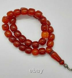 67 Grams Antique Faturan Cherry Amber Prayer Rosary Beads Misbah Marbled