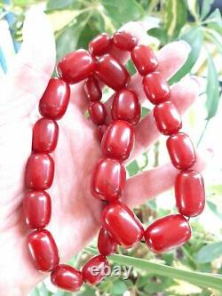 69.7 Grams Antique Faturan Cherry Amber Beads Necklace Marbled