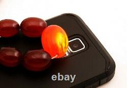 69g Antique Marbled Cherry Amber Bakelite Beads Necklace