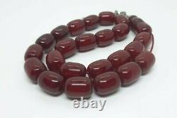 70.6 Grams Antique Faturan Cherry Amber Bakelite Beads Rosary Misbah Marbled