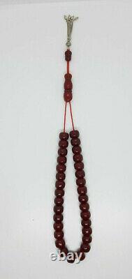 71.6 Antique Faturan Cherry Amber Bakelite Rosary Prayer Beads
