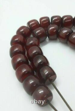 80 Grams Antique Faturan Cherry Amber Bakelite Beads Rosary Misbah Marbled