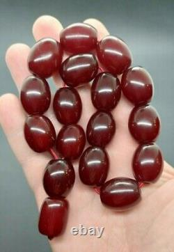 81.5 Grams Antique Faturan Cherry Amber Bakelite Beads Rosary Misbah Marbled