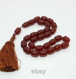 89 Grams Antique Ottoman Faturan Cherry Amber Prayer Beads Tesbih Misbah