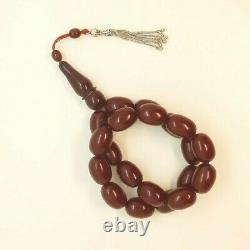 91 Grams Antique Faturan Cherry Amber Ottoman Bakelite Rosary Prayer Beads