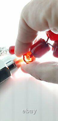 93 Grams Antique Faturan Cherry Amber Bakelite Rosary/Prayer Beads Damari/Veins
