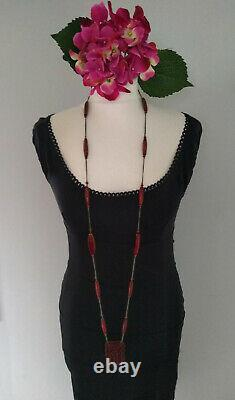 ANTIQUE ART DECO 1920s CARVED CHERRY AMBER BAKELITE SWIRL BEADS NECKLACE TESTED