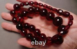 ANTIQUE CHERRY AMBER BAKELITE BEADS NECKLACE, 64gr, 21L, 16mm BEAD SIZE, CLEAR