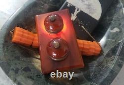ANTIQUE CHERRY AMBER FATURAN BAKELITE ART DECO, (Desk Bell Push Buttons)