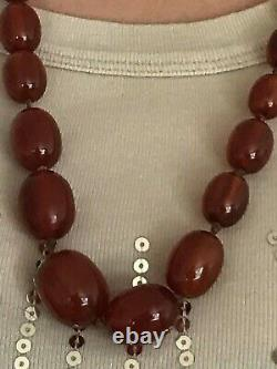 ANTIQUE NATURAL BALTIC AMBER DARK CHERRY OLIVE GRADUATED BEAD 32 NECKLACE 85 g