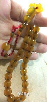 ANTIQUE OTTOMAN CHERRY AMBER Tasbih Misbaha NEW SHAVED 33 Beads OSMANLI SIKMA