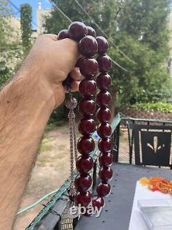 ANTIQUE OTTOMAN FATURAN ROSARY CHERRY AMBER BAKELITE PRAYER BEADS Heavy Silver
