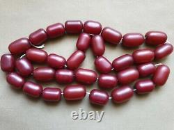 ANTIQUE OTTOMAN RED CHERRY AMBER BAKELITE FATURAN 33 PRAYER BEADS DAMARI 113 gr