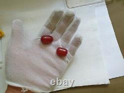 ANTIQUE OTTOMAN RED CHERRY AMBER BAKELITE FATURAN BEADS SPIRAL DAMARI 9.4 gr