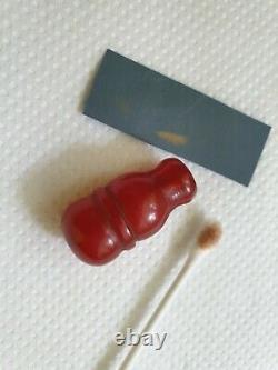 ANTIQUE OTTOMAN RED CHERRY AMBER BAKELITE FATURAN BEAD IMAM SPIRAL DAMARI 5.5 gr