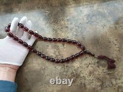 ANTIQUE OTTOMAN RED CHERRY AMBER BAKELITE FATURAN PRAYER BEADS 33+IMAME 114 gr