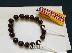 ANTIQUE OTTOMAN RED CHERRY AMBER BAKELITE FATURAN PRAYER BEADS DAMARI 39 g! No. A