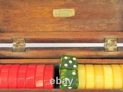 ANTIQUE RED & BUTTERSCOTCH MARBLEIZED AMBER BAKELITE BACKGAMMON CHIPS 250g DICE