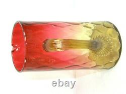 ANTIQUE VICTORIAN AMBERINA GLASS PITCHER AMBER REED HANDLE & 4 Cups Tumblers