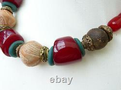 African Necklace, Cherry Amber Resin Beads, Mali Clay Spindle Whorls