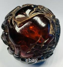 Antique 1920s Chinese Hand-Carved Cherry Amber Zodiac Animals Ball Ornament