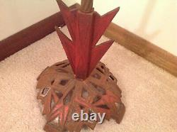 Antique 1930's ART DECO Cast Iron Red And Silver Etched Amber Glass RARE FIND