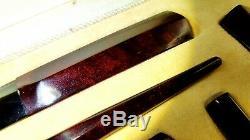 Antique 1930s Old Amber Bakelite Germany Desk set stardust Cherry Faturan 71 gr